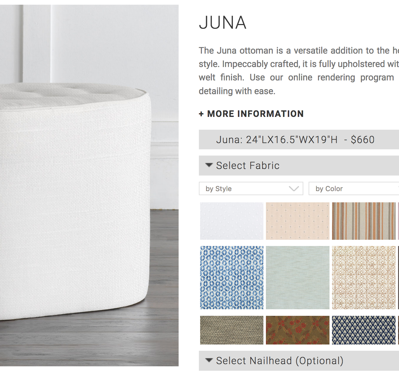Basic: Juna before getting the custom treatment, shown without additional fabric or decorative options.