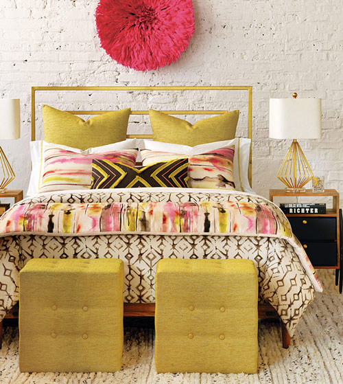 The bohemian-chic urban loft beckons with artsy Yara. Its eclectic mix of patterns mimics washed-out watercolor and block-printing techniques while the shams are cut from pieces of Keely Sunset fabric for a unique, one-of-a-kind look. Decorated with a brush fringe topical treatment, the bolster draws from Yara's poppy and citron-hued main fabric, resulting in a collection that is at once creative and fashion-forward.