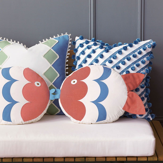 Designer outdoor decorative pillows with a touch of feminine charm and chic