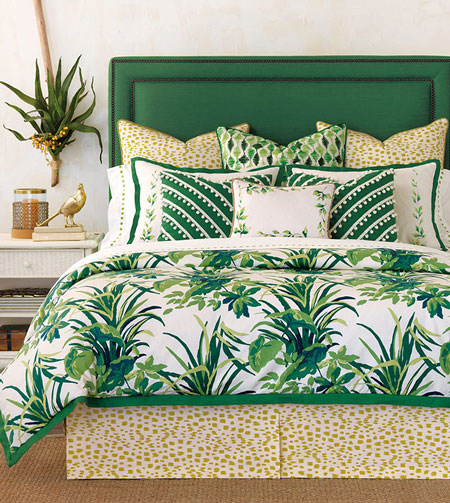 With Tropical Dreams, Celerie has created the perfect homage to her favorite island getaway. Deftly hand-painted shams, ball-trim appliquéd decorative pillows, and embroidered linens add fine details to a crisp palette of verdant greens. Its coordinating sheet set, the 300 thread count Egyptian cotton sateen Tivoli Lime, is a luxurious addition to this collection plucked straight out of paradise.