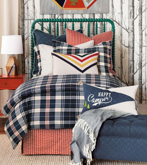 Make your outdoorsy little one a very happy camper with Scout. With arrowhead patterns, ribbon-appliqué detailing, and a washable duvet cover in a handsome plaid, it is the perfect bedding collection for your little explorer. Scout's fun, decorative pillows allude to the adventurous lifestyle with references to Adirondack styling and the iconic Hudson Bay blanket.