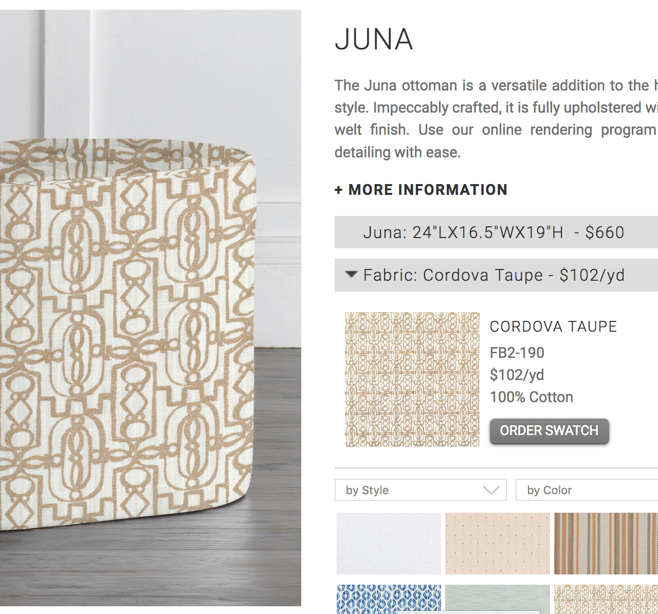Customized: Juna upholstered in Cordova Taupe fabric, without optional nailheads.