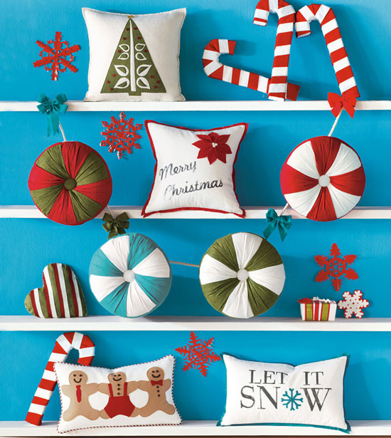 North Pole Quirky Christmas Throw Pillows