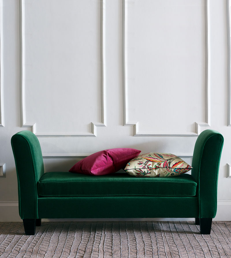 After: The Augusta bench upholstered in Bach Emerald with Espresso Wood-stained legs.