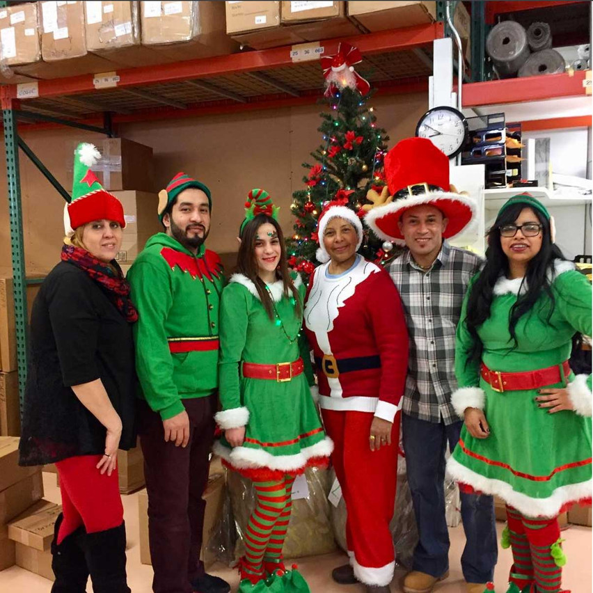 Our whole factory got into the holiday spirit, but these festive folks from the Packing department just stole the show.