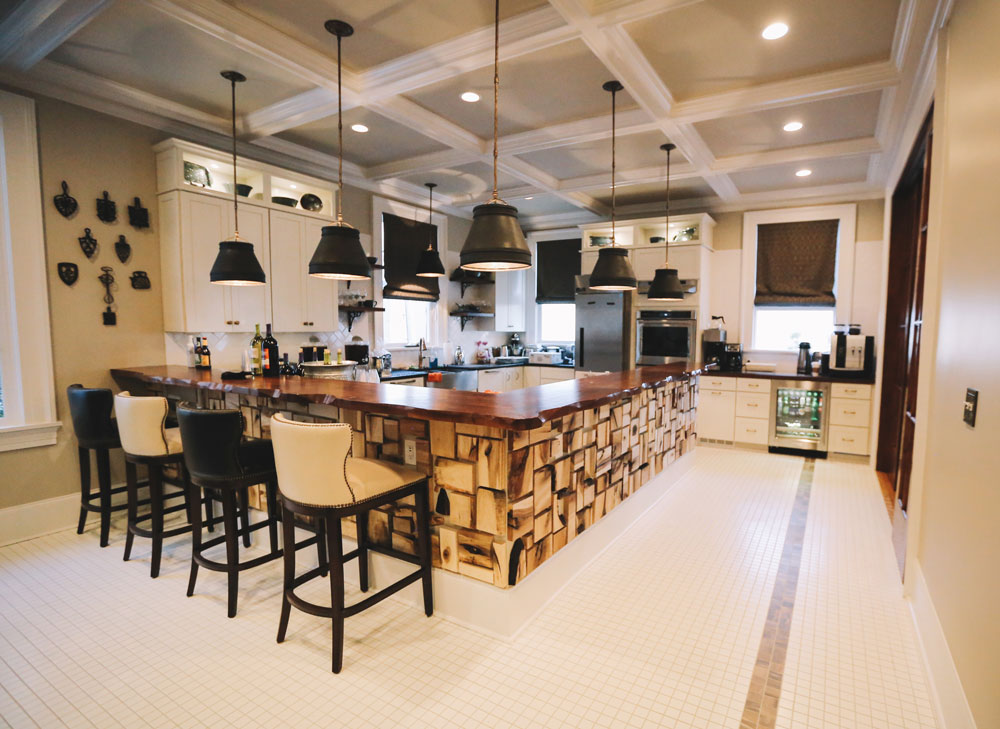 An open-plan space to sit with drinks or watch as the chef works his magic