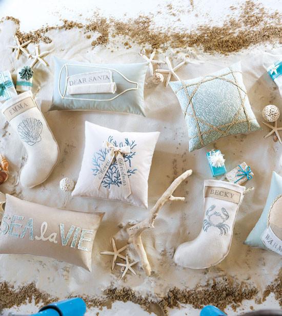 Coastal Tidings Beach Christmas Pillows