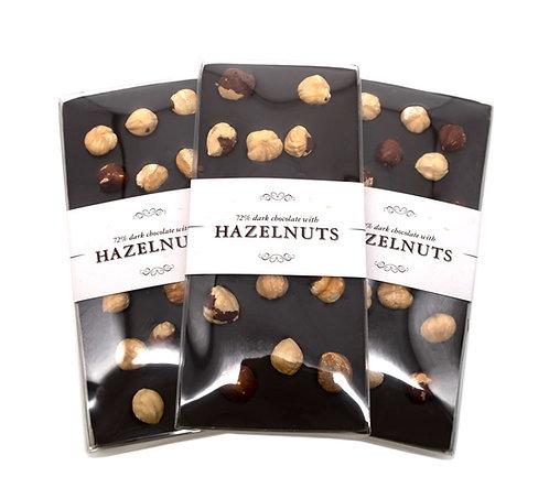 Hazelnut ~ Dark Chocolate Bar