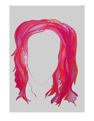 Aura červená kresba Michaela Valová