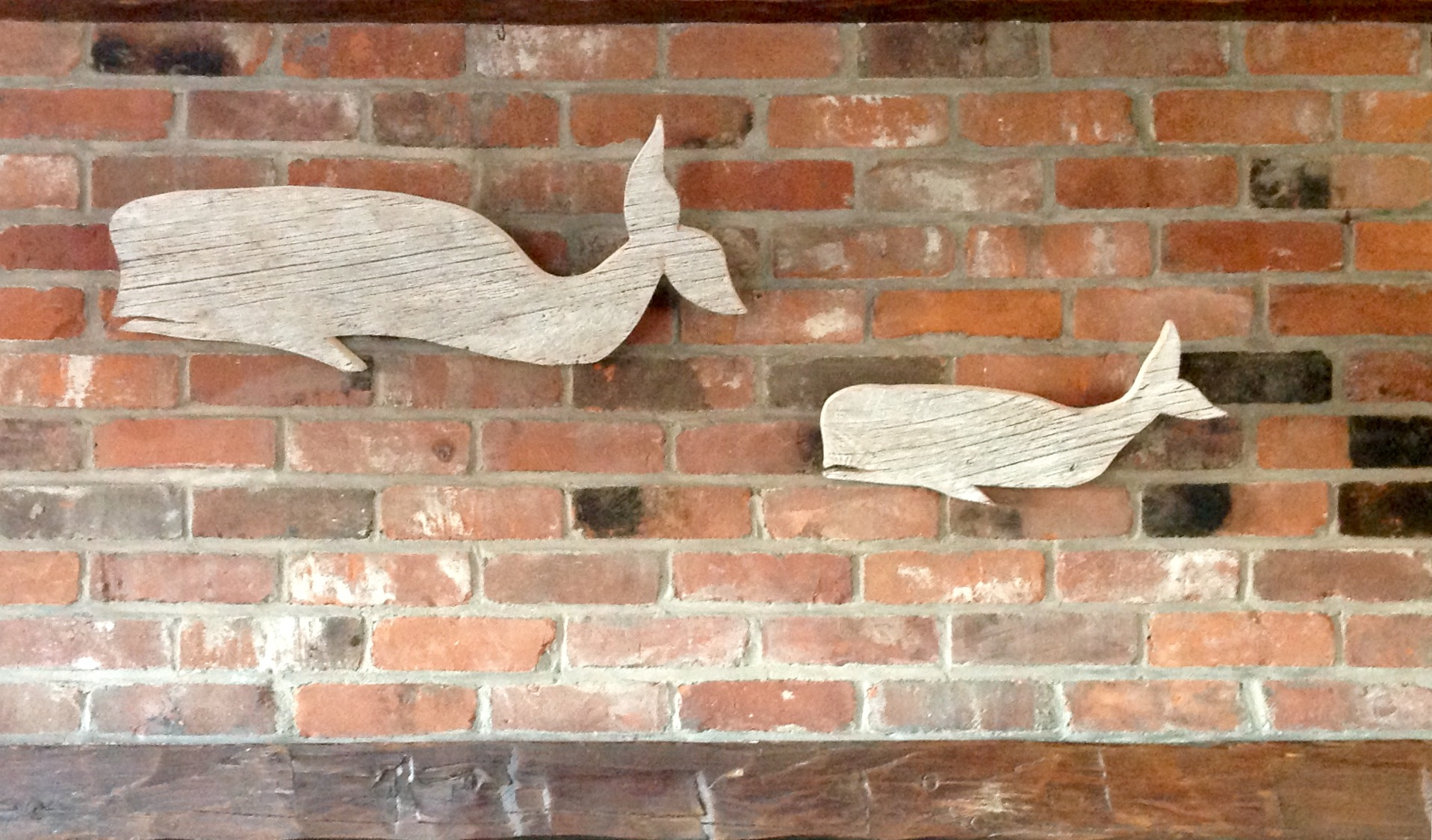 Whales out of reclaimed Barnboards