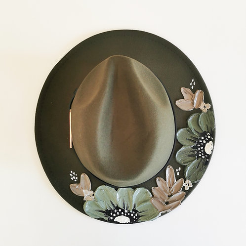 Floral Green Hat - 59cm
