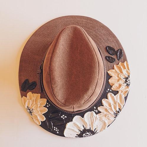 Floral Brown Canvas Hat - 59 cm