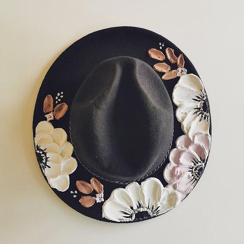 Floral Black Hat - 58cm