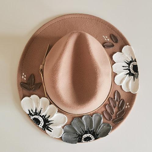 Grey floral Beige Hat - 58cm