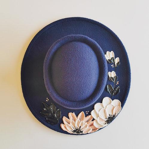 Floral Navy Hat - 57cm