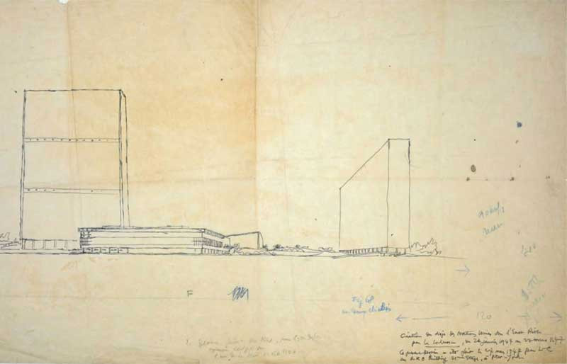 Early Sketch of the UN Building by Le Corbusier