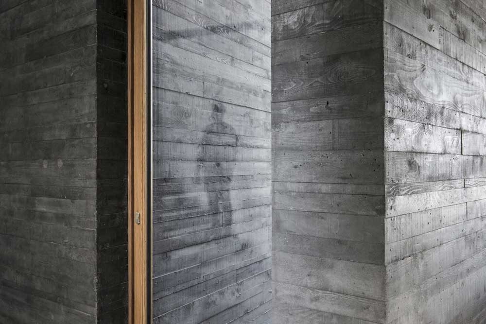contrasting textures and grey colour tones on a wall