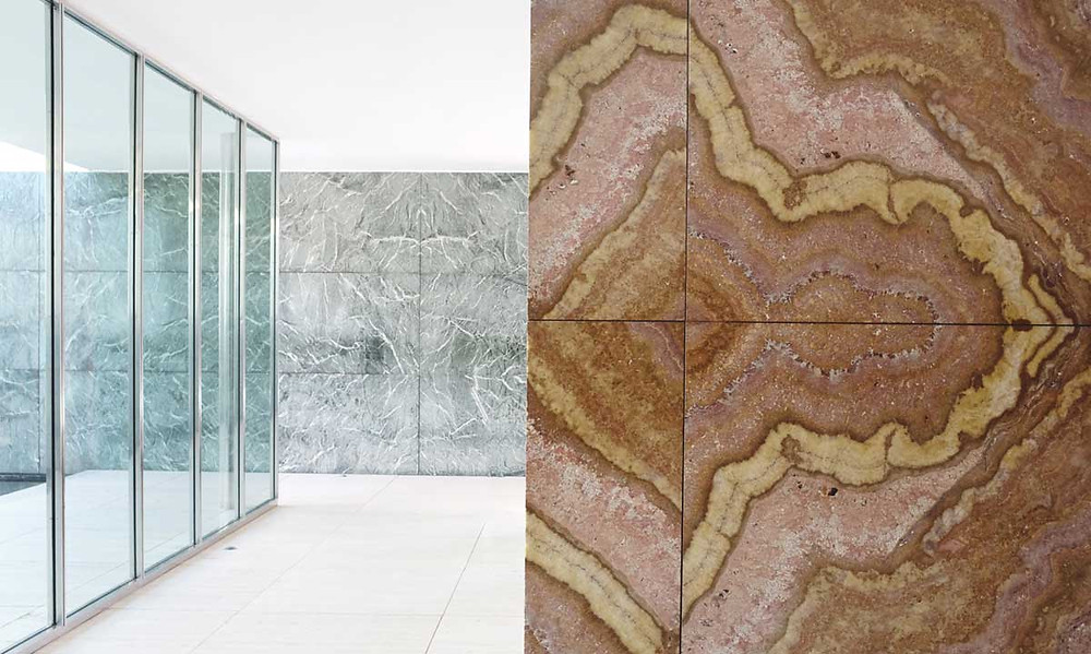 Internal view showing internal variations of the use of marble in the Barcelona Pavilion