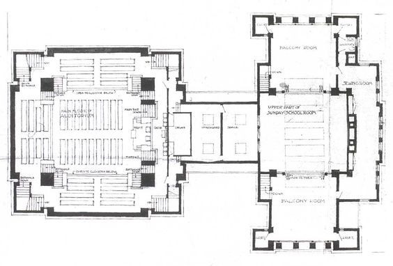 Unity Temple - a distinctive Frank Lloyd Wright Floorplan