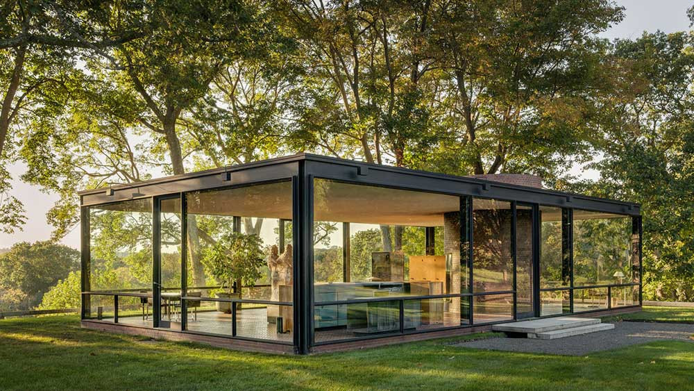 The Glass House or Johnson House, in New Canaan, Connecticut, USA