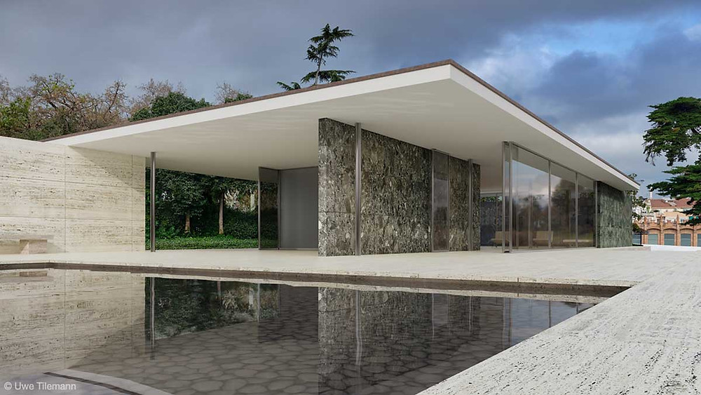 External view of the 1986 reconstruction of the Barcelona Pavilion