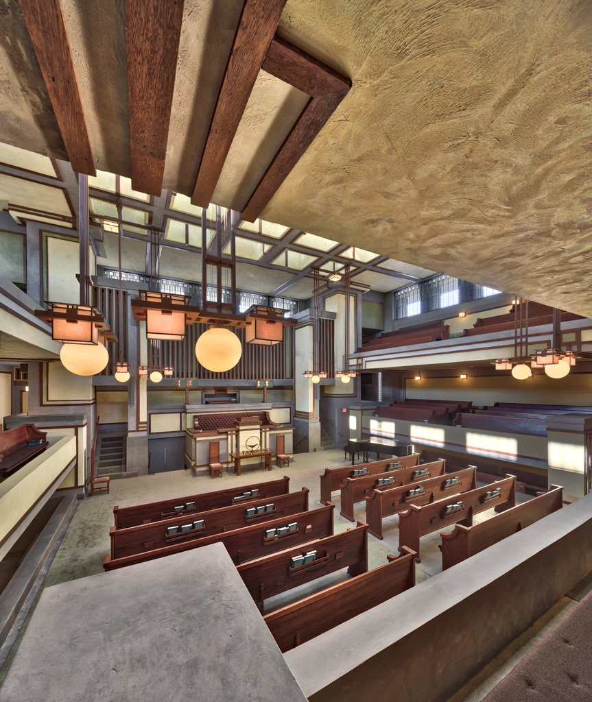 Interior of Unity Temple - Frank Lloyd Wright