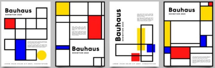 Typical Bauhaus style typography and design