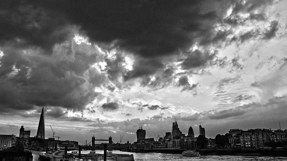panoramic view of London in monochrome