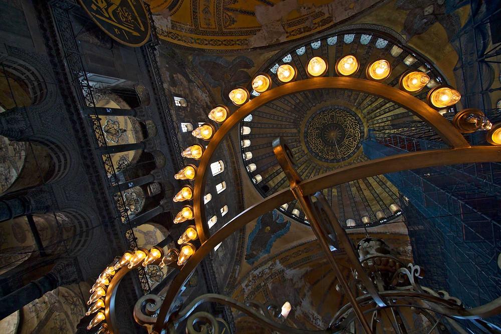 Interior shot looking upwards of the Hagia Sofia Museum © Alec Boreham