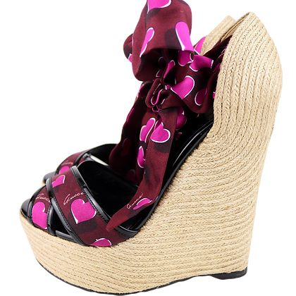 Gucci Bast Wedges with Satin Lace