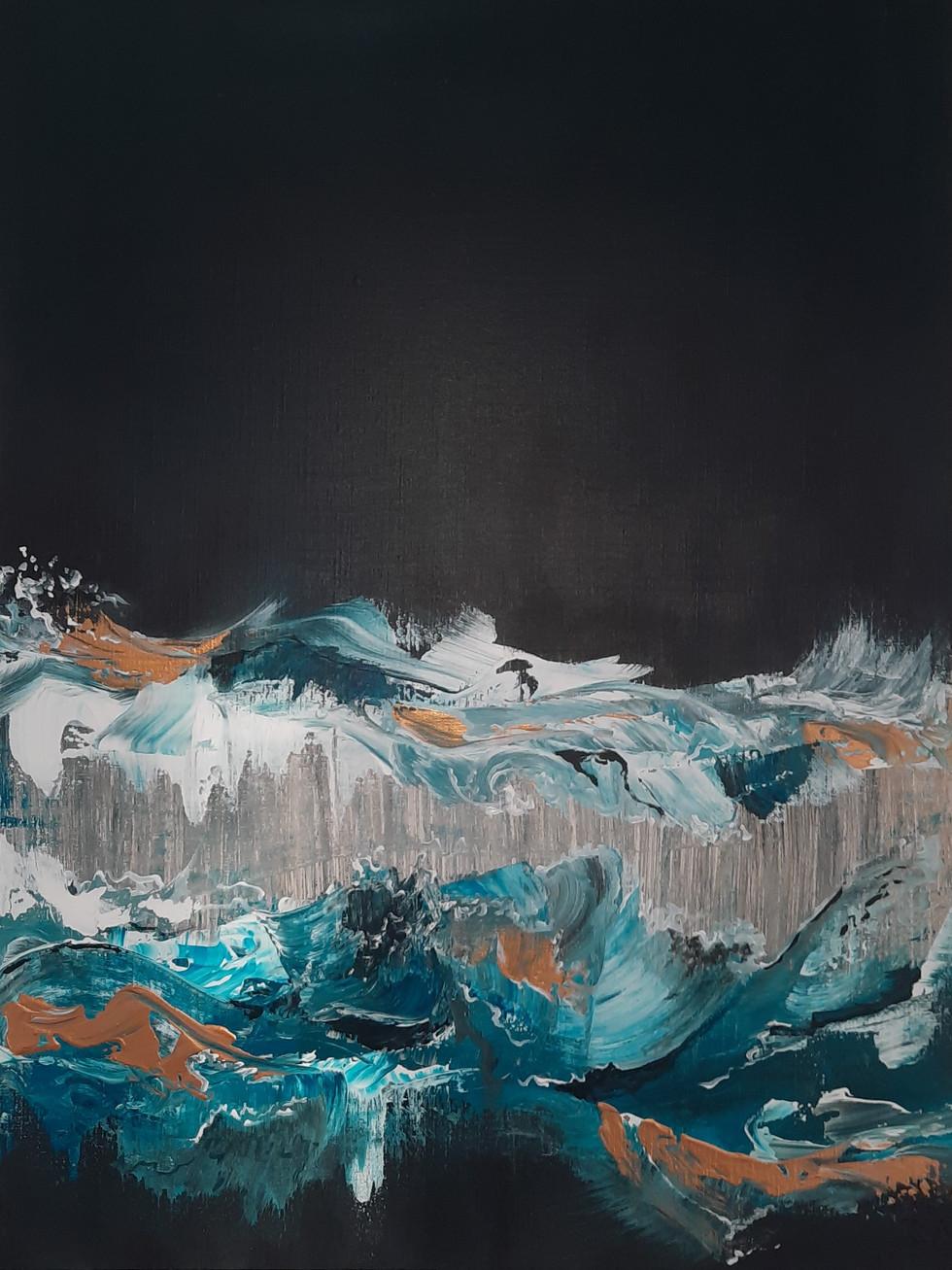 Blue Split wave 80 x 60 cm.