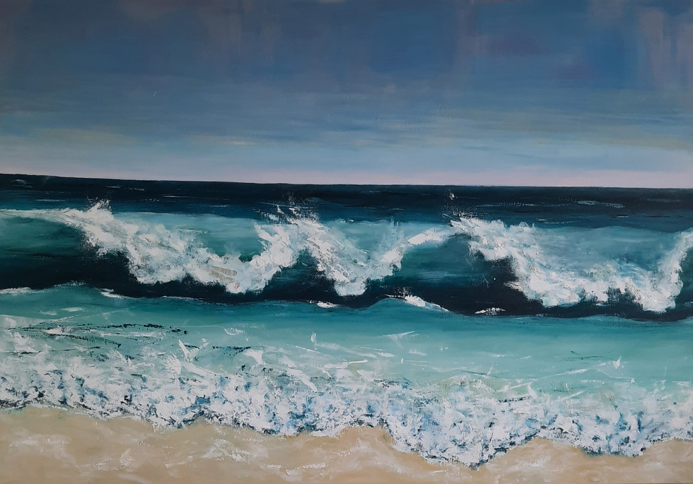 Blue oceon rolling waves 140 x 200 cm