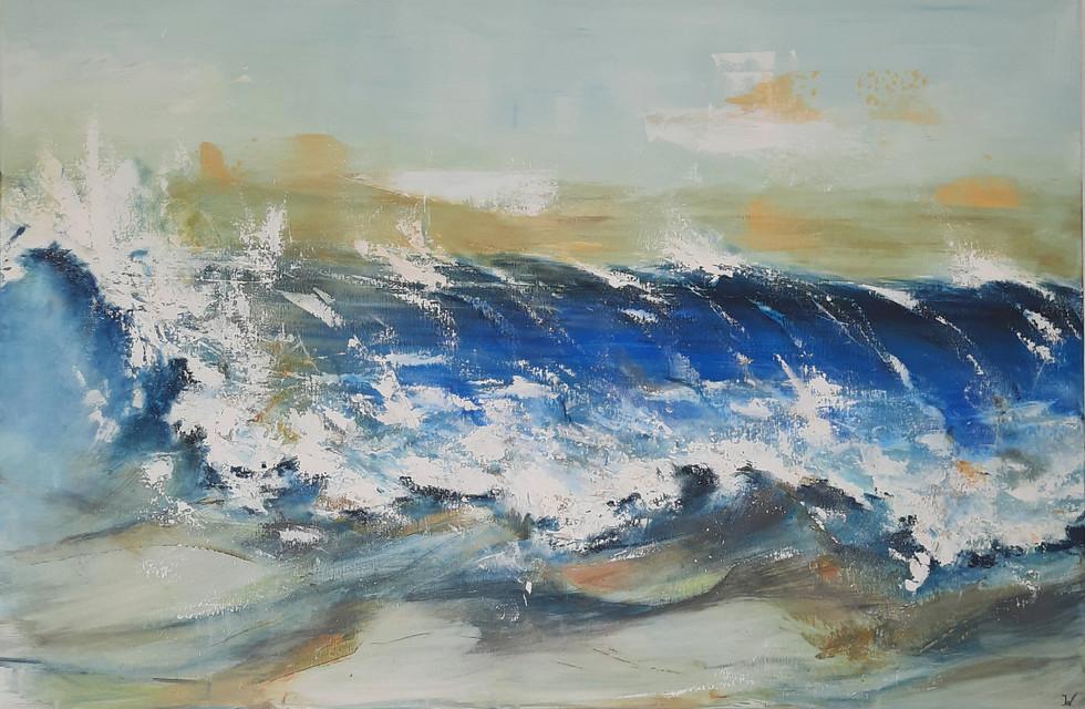 Gereserveerd. Lightblue Rolling Wave 100 x 150