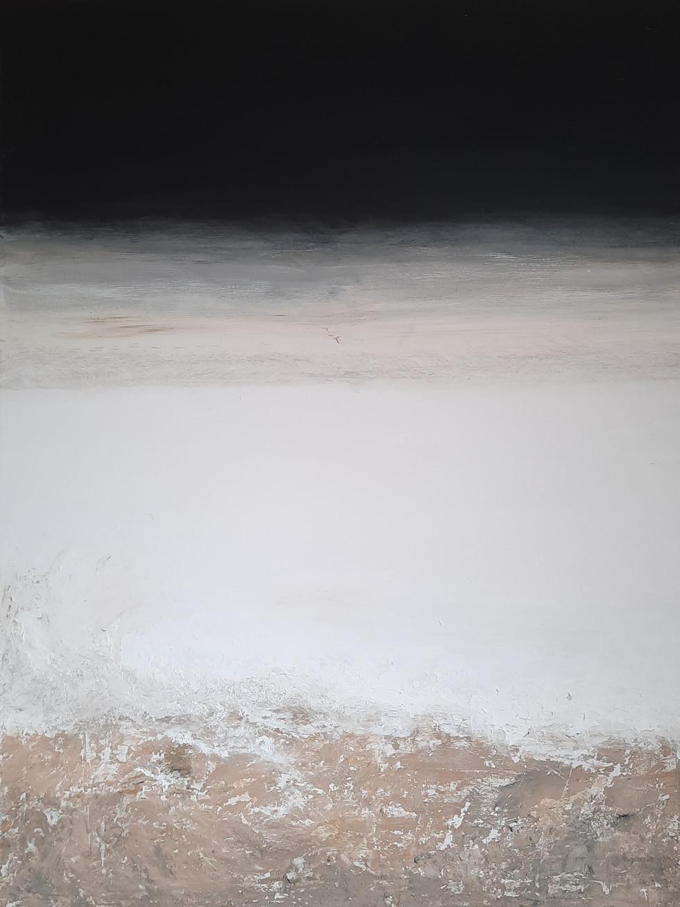 Verkocht: Licht, donker contrast zand 90 x 70 cm
