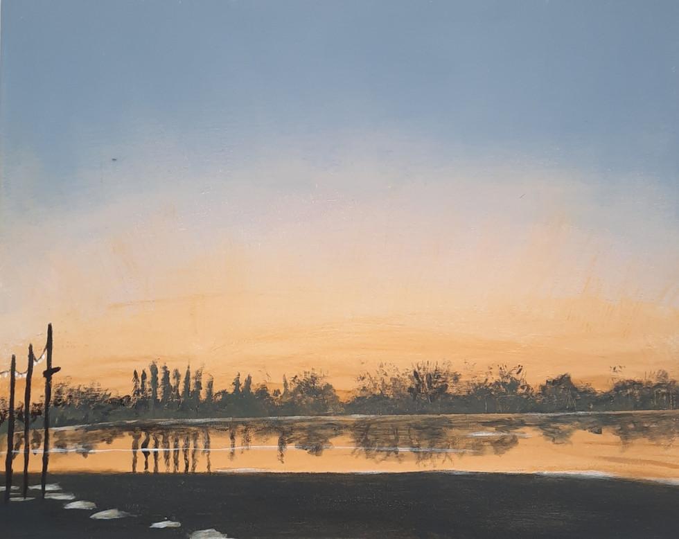 Verkocht: Valkenburgsemeer bij zonsondergang 40 x 50