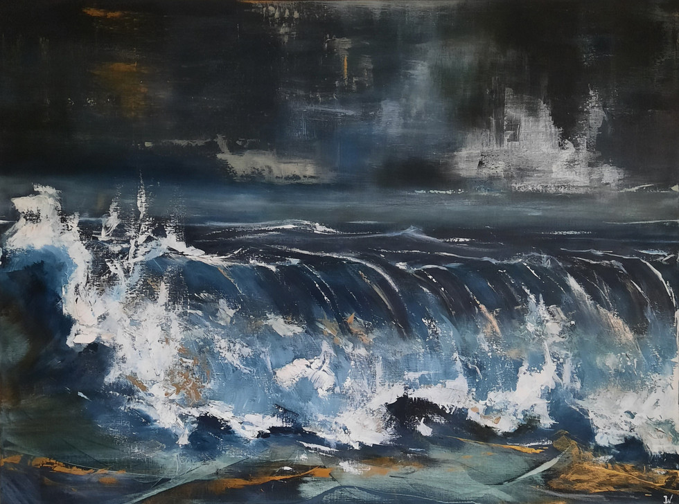 Gereserveerd. Blue oceon Wave 100 x 120 cm.