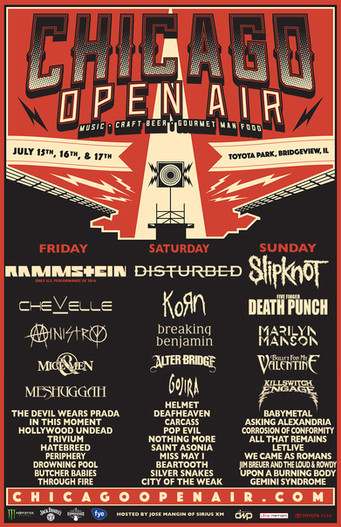 Slipknot, Disturbed, and Rammstein set to Headline the Inaugural Chicago Open Air Music Festival...