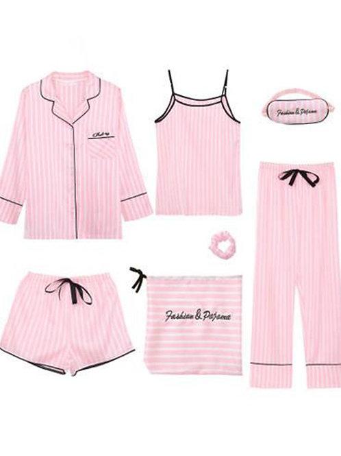 Satin 7-Piece Pajama Set