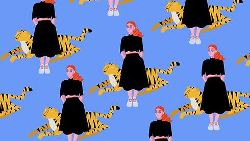 Mädchen mit Tiger