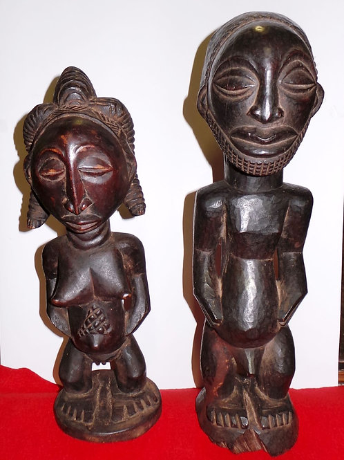 Luba Hand Carved Statues - African Couple - Congo Tribal Art