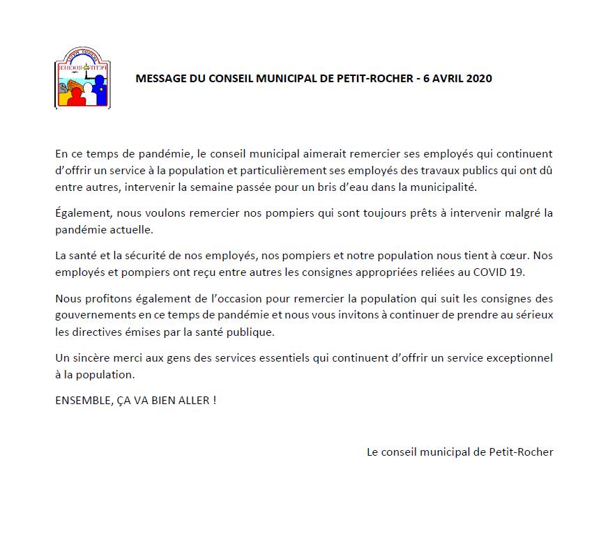 Message du conseil municipal 6 avril 202