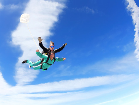 Is it a Bird?  Is it a Plane?  No, it's Karen and Grace doing a skydive for charity.