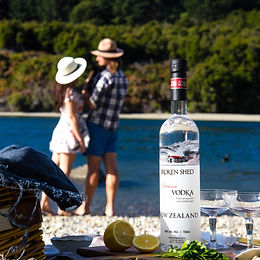 Broken Shed Vodka - couple riverbank squ