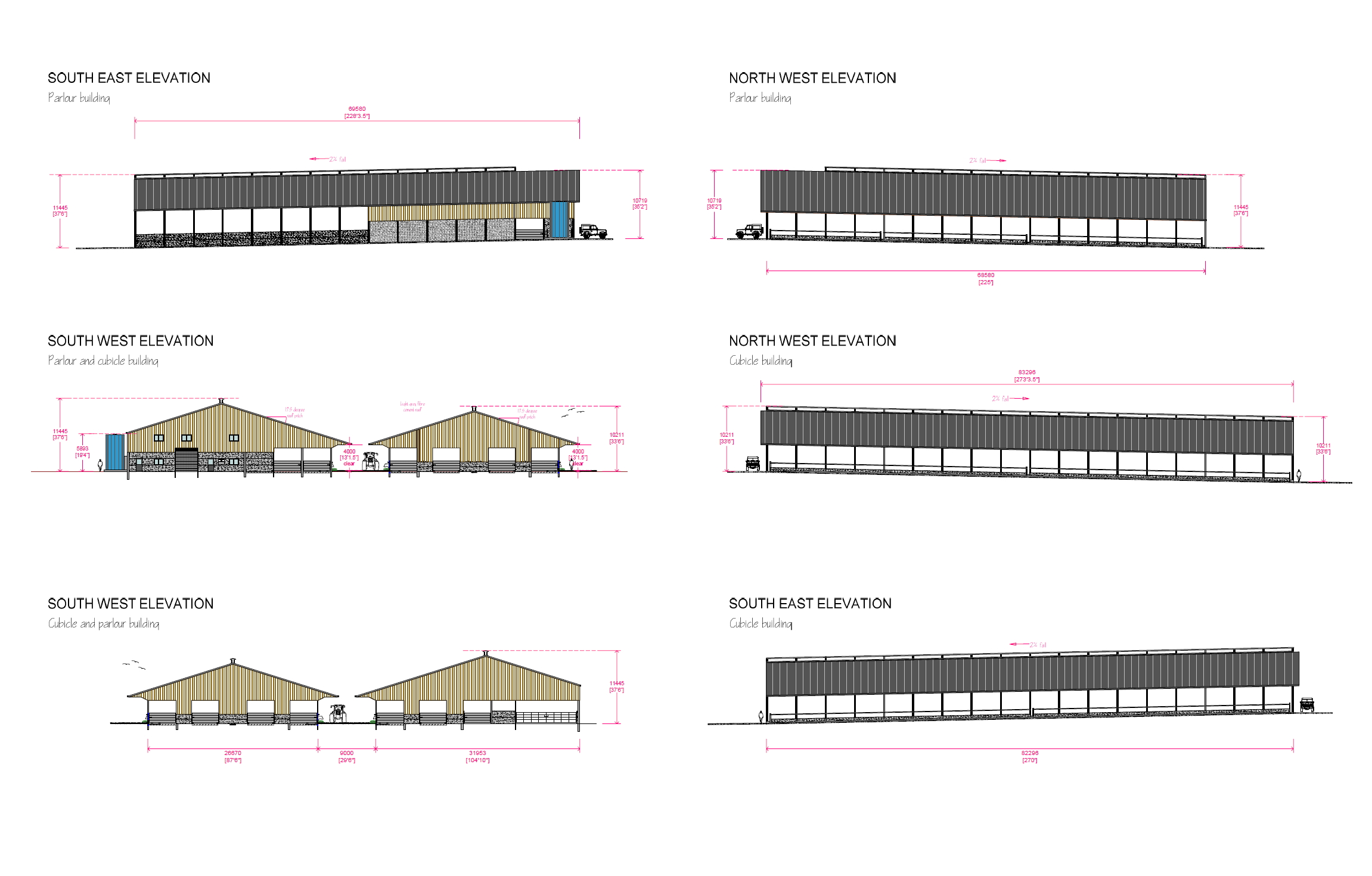 Elevation drawings for a new dairy unit