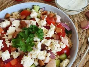 Frisse vegan couscous salade met amandelen