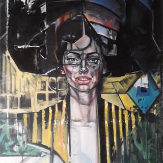 Óleo sobre tela com penteado/cabelo em formato do Museu Guggenheim de Nova York, para comemoração dos seus 60 anos.