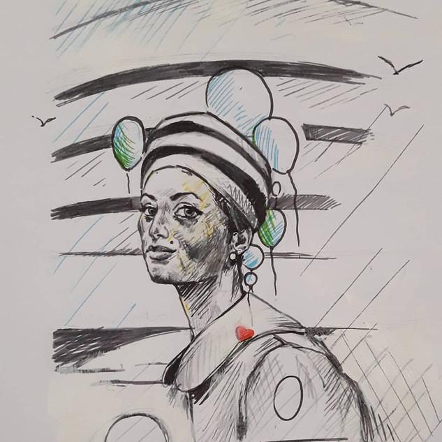 Técnica mista sobre papel, para comemoração dos 60 anos do Museu Guggenheim de Nova York. 2019
