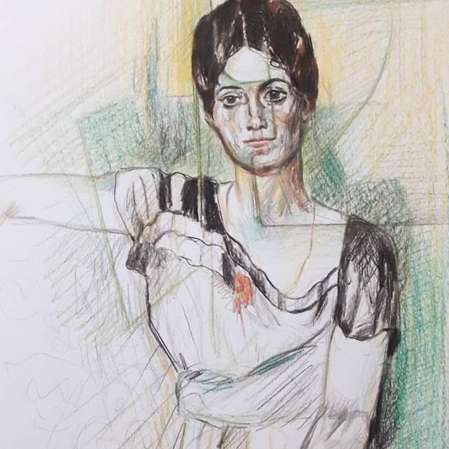 Releitura em técnica mista sobre papel do retrato em óleo de Olga Picasso