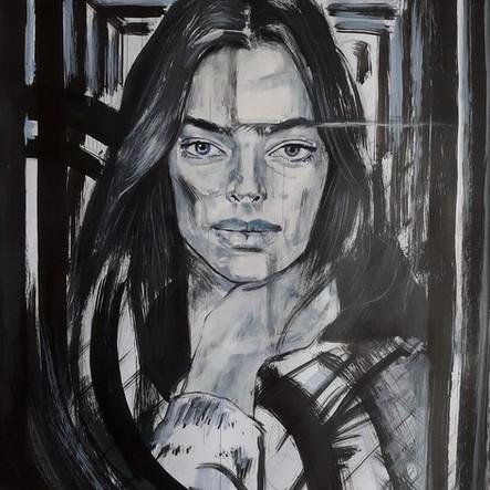 Woman in black paint. 2020