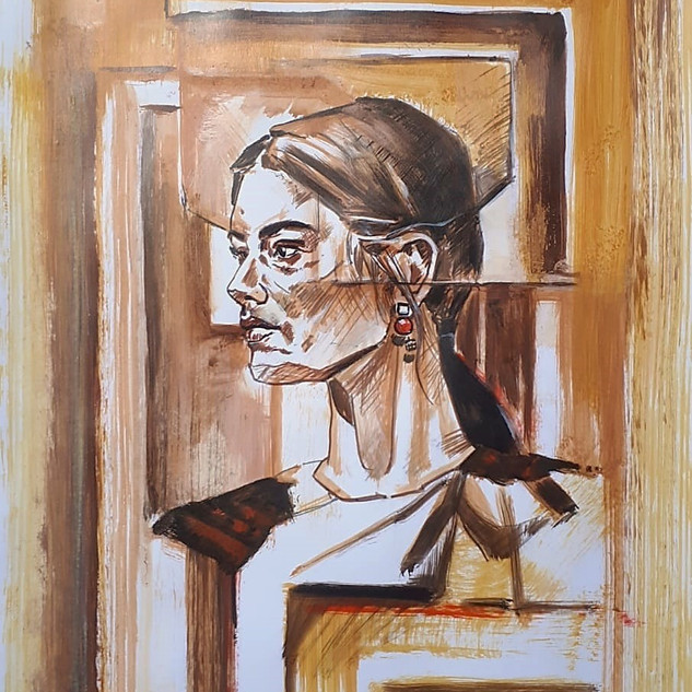 Essence Collection Título: woman in sépia Técnica mista de desenho sobre papel.  Ano: 2020 Medida: Papel A3